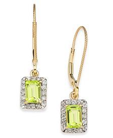Peridot (1-1/3 ct. t.w.) & Diamond (1/3 ct. t.w.) Drop Earrings in 14k Gold