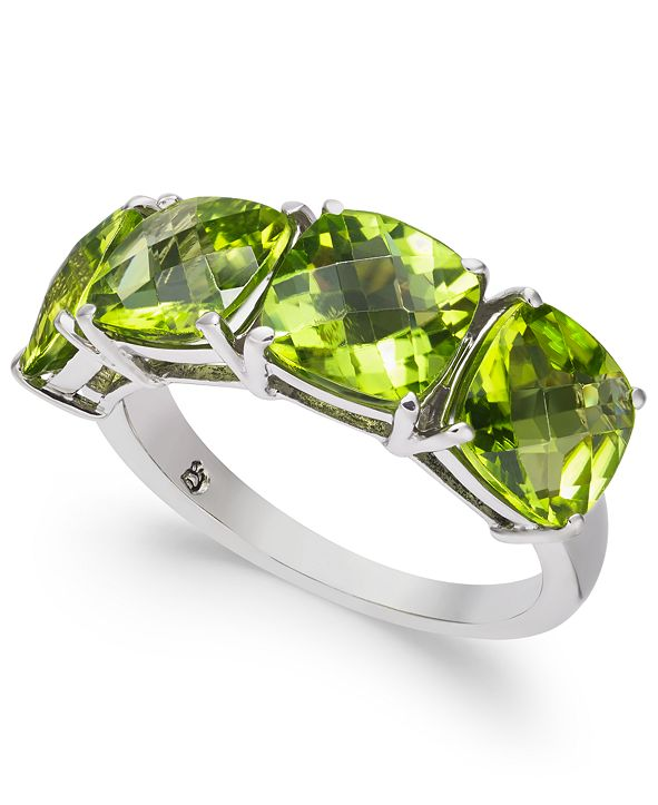 Macy's Peridot Four-Stone Ring (6-3/8 ct. t.w.) in Sterling Silver
