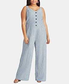 RACHEL Rachel Roy Trendy Plus Size Cotton Zarita Striped Jumpsuit
