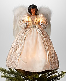 "14""H African American Angel Christmas Tree Topper with LED lights in Ivory Dress, Created for Macy's"