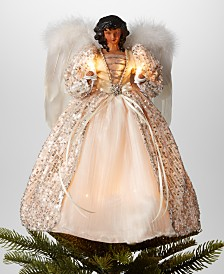 """Holiday Lane 14""""H African American Angel Christmas Tree Topper with LED lights in Ivory Dress, Created for Macy's"""