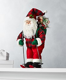"Holiday Lane Christmas Cheer 18""H Skiing Santa, Created for Macy's"