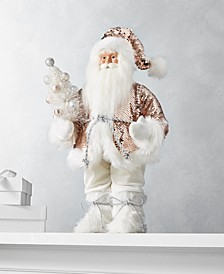 "Shimmer and Light 18""H Standing Santa with Rosegold Sequin Coat, Created for Macy's"