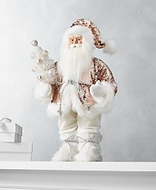 "Holiday Lane Dreamland 18""H Standing Santa with Rosegold Sequin Coat, Created for Macy's"