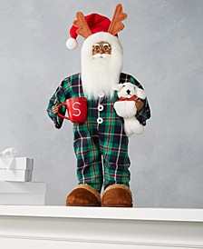 "18""H Standing African American Pajama Santa with Coffee Mug and Dog, Created for Macy's"