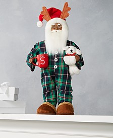 "Holiday Lane 18""H Standing African American Pajama Santa with Coffee Mug and Dog, Created for Macy's"