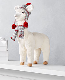 "Holiday Lane Christmas Cheer 14.5""H Alpaca with Decorative Scarf and Hat, Created for Macy's"