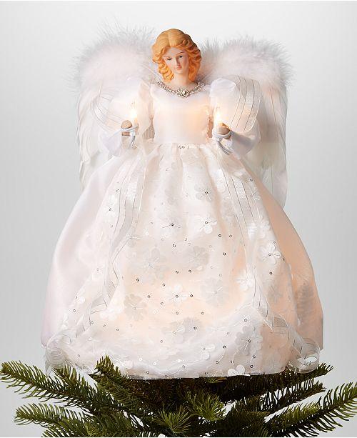 Angel Christmas Tree Topper.14 Angel Led Christmas Tree Topper In White Dress Created For Macy S
