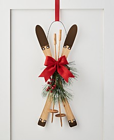 "Holiday Lane Christmas Cheer 23.5""H Hanging Skis with Red Bow Decor, Created for Macy's"