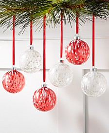 Christmas Cheer Shatterproof Red & White Random Paint Ornaments, Set of 6, Created for Macy's