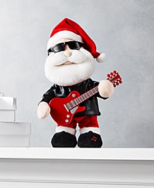 """12.5""""H Animated Plush Dancing Rock Santa with Guitar, sings """"Celebration"""", Created for Macy's"""