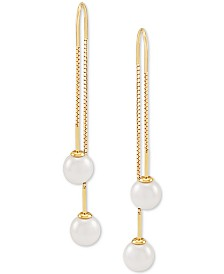 Cultured Freshwater Pearl (7mm) Threader Earrings in 14k Gold