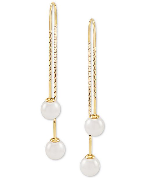Honora Cultured Freshwater Pearl (7mm) Threader Earrings in 14k Gold