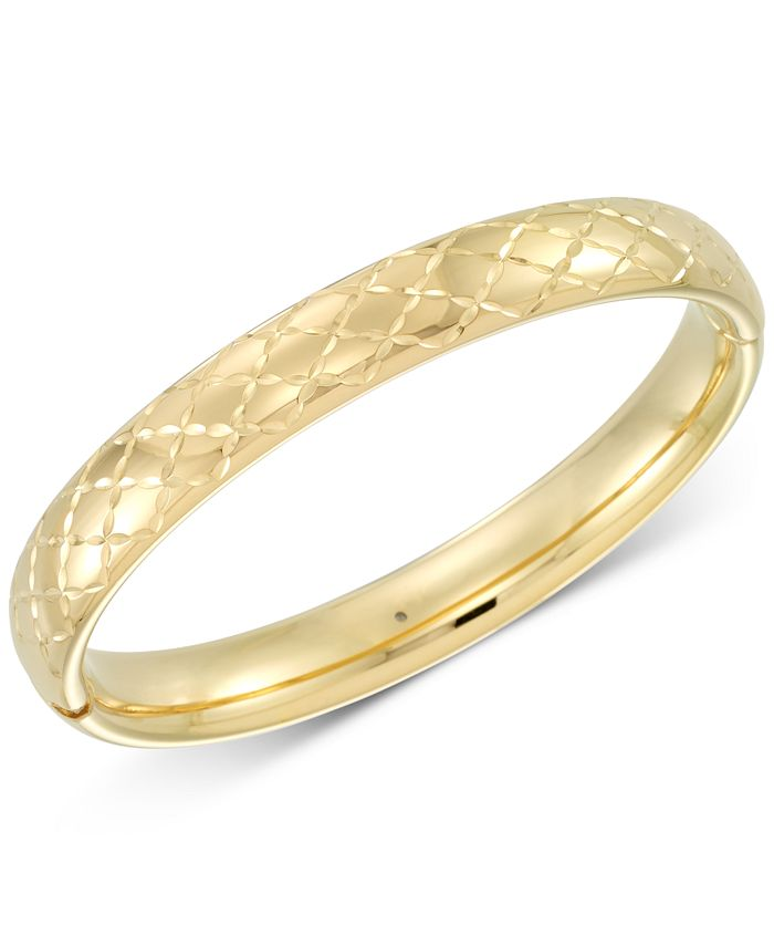 Signature Gold - Diamond Accent Patterned Bangle Bracelet in 14k Gold Over Resin