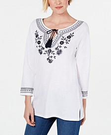 Petite Cotton Embroidered Peasant Top, Created for Macy's