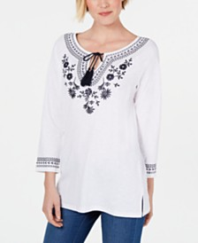 Charter Club Cotton Embroidered Tunic, Created For Macy's