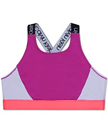 Calvin Klein Big Girls Logo-Strap Colorblocked Sports Bra