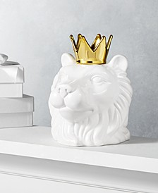 Midnight Blue Ceramic Lion Head with Gold Crown, Created for Macy's