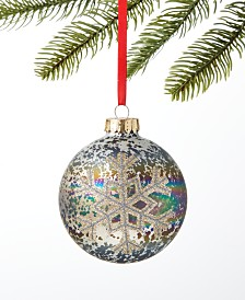 Holiday Lane Spotted Owl Snowflake Ball Ornament, Created for Macy's