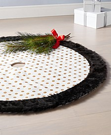 Black, White & Gold Dot Tree Skirt, Created for Macy's