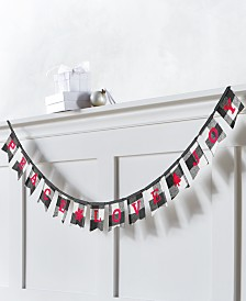 "Holiday Lane The Holiday Collection ""Peace, Love, Joy"" Plaid Garland, Created for Macy's"