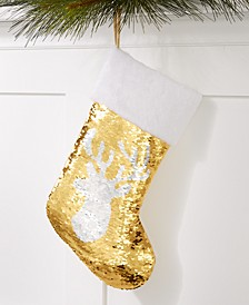 Gold and White Sequin Reindeer Stocking, Created for Macy's