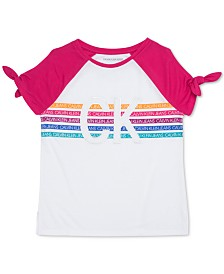 Calvin Klein Big Girls Tie-Sleeve Logo-Print T-Shirt