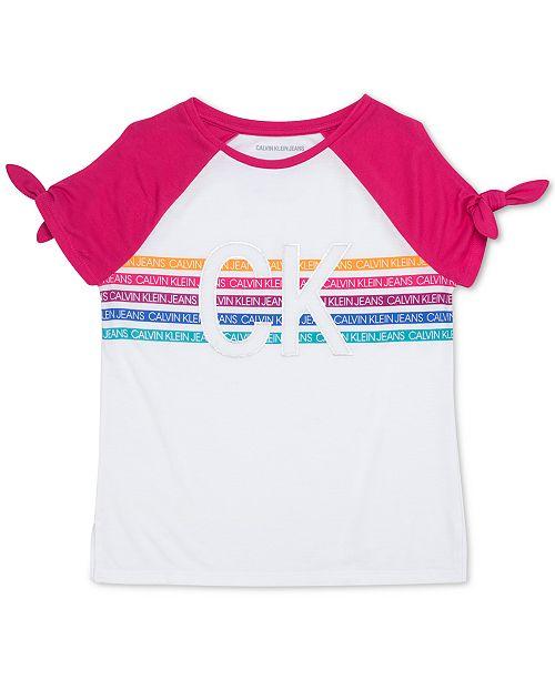 Calvin Klein Big Girls Tie-Sleeve Logo-Print T-Shirt