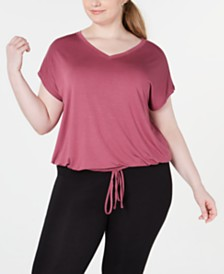 Ideology Plus Size Drawstring-Hem Top, Created for Macy's