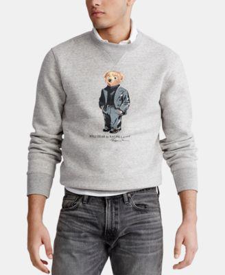 Polo Ralph Lauren Men/'s Crew Neck Polo Bear Graphic Sweatshirt-Gray