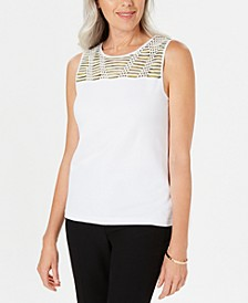 Embellished-Yoke Sleeveless Top