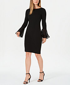 Calvin Klein Chiffon-Bell-Sleeve Sheath Dress, Petite & Regular