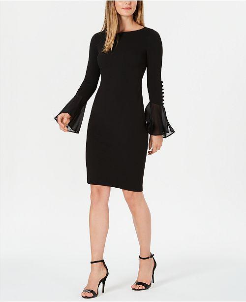 Calvin Klein Chiffon-Bell-Sleeve Sheath Dress, Petite & Regular