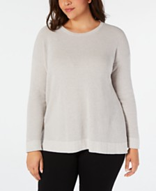 Eileen Fisher Plus Size Organic Cotton Thermal Top