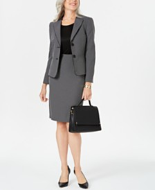 Le Suit Petite Geo-Plaid Skirt Suit