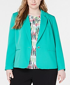 Trendy Plus Size One-Button Jacket, Created for Macy's