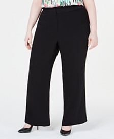 Bar III  Plus Size Ruffle-Waist Pants, Created for Macy's
