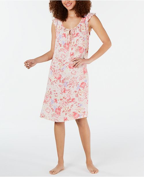 Miss Elaine Flutter-Sleeve Printed Nightgown