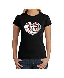 Women's Word Art T-Shirt - Baseball Mom