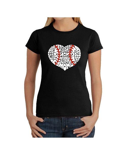 LA Pop Art Women's Word Art T-Shirt - Baseball Mom