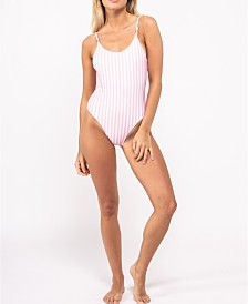 Bermies One-Piece Striped Bathing Suit