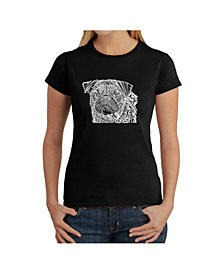 Women's Word Art T-Shirt - Pug Face
