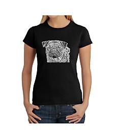 Women's Word Art T-Shirt - Pug Face