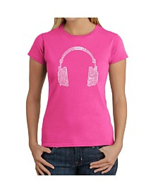 Women's Word Art T-Shirt - 63 Different Genres of Music