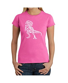 Women's Word Art T-Shirt - Dinosaur Words and Pictures