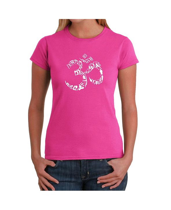 LA Pop Art Women's Word Art T-Shirt - The Om Symbol Out of Yoga Poses