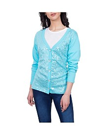 Celestial Blue Embellished Front Knit Cardigan
