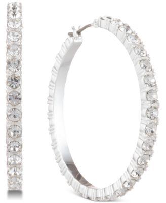 Silver-Tone Crystal Small Medium Hoop Earrings