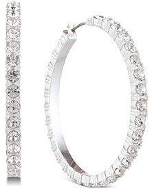 Silver-Tone Crystal Small Medium Hoop Earrings