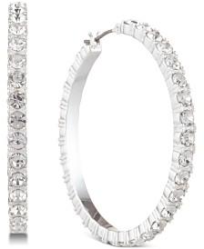 DKNY Silver-Tone Crystal Small Hoop Earrings